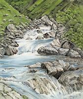 Konrad-Zimmerli-Natur-Wasser-Landschaft-Berge-Moderne-Abstrakte-Kunst