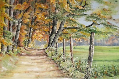 Konrad Zimmerli, Auf der Schorüti, Landschaft: Herbst, Natur: Wald, Naturalismus