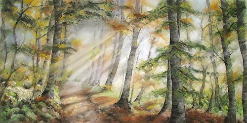 Konrad Zimmerli, Herbststimmung, Landschaft: Herbst, Natur: Wald, Naturalismus