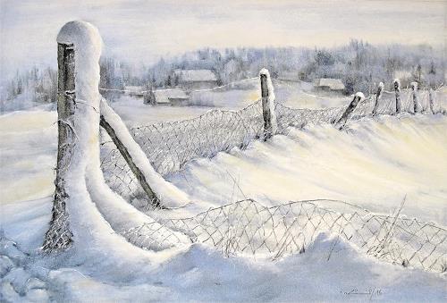 Konrad Zimmerli, Eingeschneit, Landschaft: Winter, Natur: Wald, Abstrakte Kunst, Expressionismus