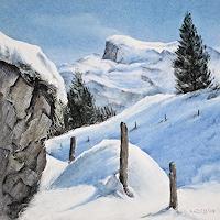Konrad-Zimmerli-Landschaft-Winter-Landschaft-Berge-Moderne-Naturalismus