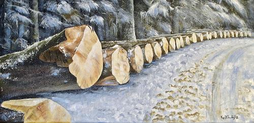 Konrad Zimmerli, Aufgereiht, Natur: Wald, Landschaft: Winter, Naturalismus, Expressionismus