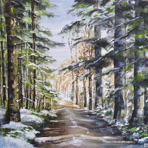 Konrad Zimmerli, Wald I, Natur: Wald, Landschaft: Winter, Naturalismus, Expressionismus