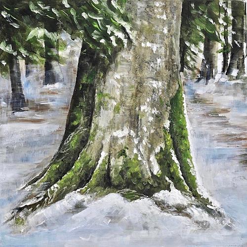 Konrad Zimmerli, Wald II, Landschaft: Winter, Natur: Wald, Naturalismus