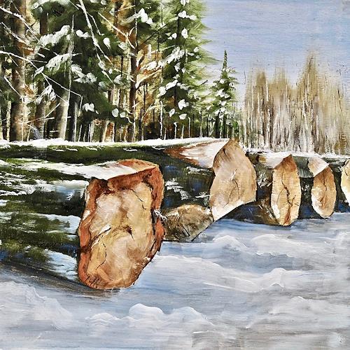 Konrad Zimmerli, Wald III, Landschaft: Winter, Natur: Wald, Naturalismus, Expressionismus