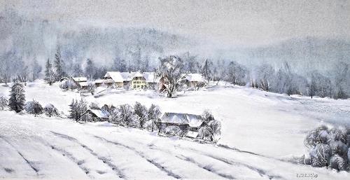 Konrad Zimmerli, Wintertag, Landschaft: Winter, Natur: Wald, Naturalismus, Expressionismus