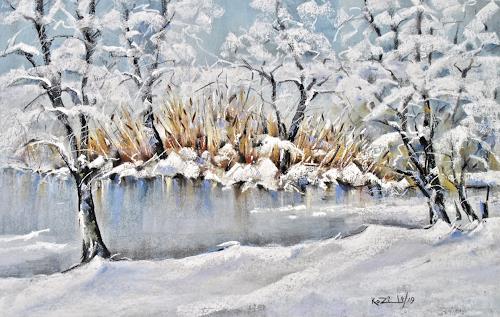 Konrad Zimmerli, Weiher, Landschaft: Winter, Natur: Wasser, Neo-Impressionismus