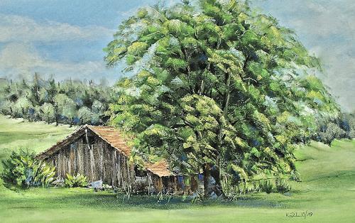 Konrad Zimmerli, Alte Scheune, Landschaft: Sommer, Pflanzen: Bäume, Naturalismus