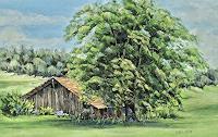 Konrad-Zimmerli-Landschaft-Sommer-Pflanzen-Baeume-Moderne-Naturalismus