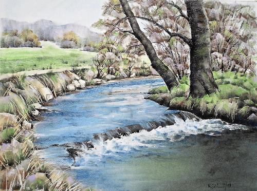 Konrad Zimmerli, Suhrenknie, Landschaft: Frühling, Natur: Wasser, Naturalismus, Expressionismus
