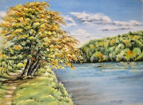 Konrad Zimmerli, An der Aare, Landschaft: Herbst, Natur: Wasser, Naturalismus