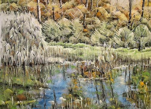 Konrad Zimmerli, Looweiher, Landschaft: Herbst, Natur: Wasser, Naturalismus, Expressionismus