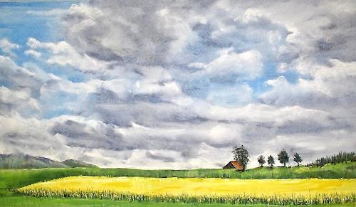 Konrad Zimmerli, Wolken, Landschaft: Ebene, Landschaft: Frühling, Neo-Impressionismus