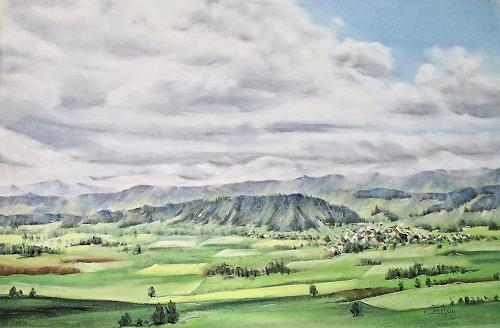 Konrad Zimmerli, Blick vom Santenberg, Landschaft: Sommer, Natur: Erde, Naturalismus, Expressionismus