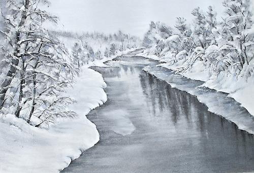 Konrad Zimmerli, Winterstille, Landschaft: Winter, Natur: Wasser, Naturalismus, Expressionismus