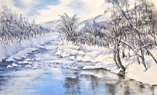 Konrad Zimmerli, Die Rotte, Landschaft: Berge, Landschaft: Winter, Naturalismus, Expressionismus