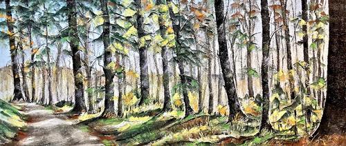 Konrad Zimmerli, Dezembersonne, Landschaft: Herbst, Natur: Wald, Naturalismus, Expressionismus