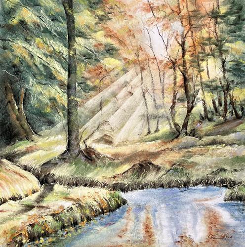 Konrad Zimmerli, Aspisee, Landschaft: Herbst, Natur: Wald, Naturalismus, Expressionismus