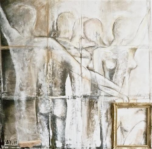Anja Münter, beziehungs-los, Menschen: Gruppe, Diverse Gefühle, Gegenwartskunst, Abstrakter Expressionismus
