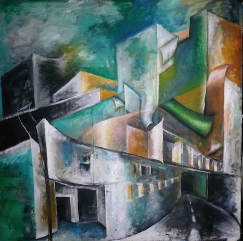 Anja Münter, stadt-leben/statt-leben, Diverse Bauten, Architektur, Gegenwartskunst, Abstrakter Expressionismus
