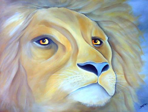 Saza Bacheh, YELLOW EYED LION, Diverse Tiere, Natur: Diverse, Expressionismus