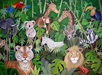 Saza-Bacheh-Diverse-Tiere-Landschaft-Tropisch-Gegenwartskunst--Gegenwartskunst-