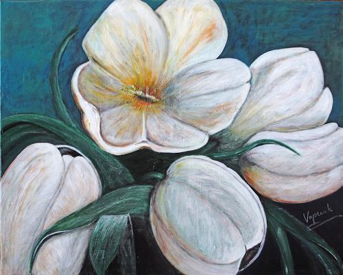 Barbara Vapenik, White Tulip, Pflanzen: Blumen, Stilleben, Gegenwartskunst