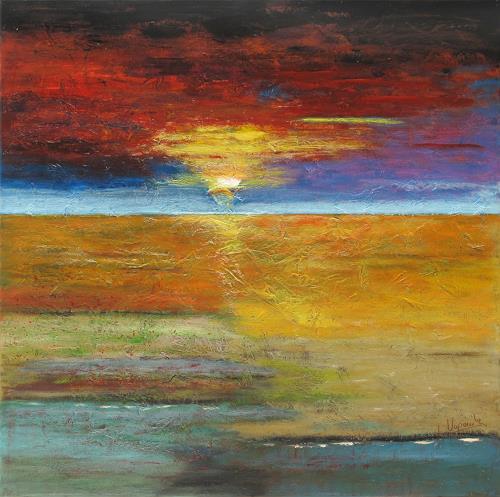 Barbara Vapenik, Himmel und Erde, Landschaft: Ebene, Abstraktes, Gegenwartskunst