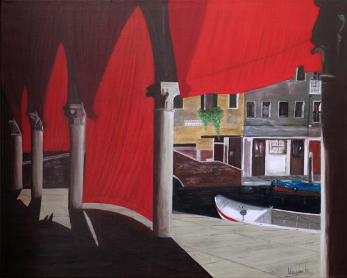 Barbara Vapenik, Fischmarkt in Venedig, Architektur, Markt, Gegenwartskunst, Expressionismus