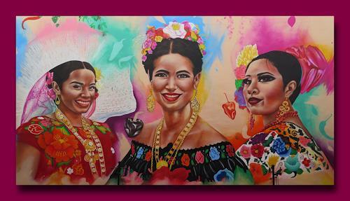 Arie Wubben, Mis amigas de Querétaro, Mexico, Menschen: Frau, Party/Feier, New Image Painting