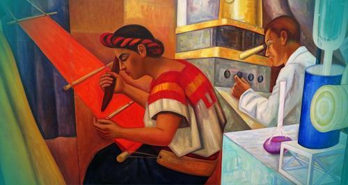Arie Wubben, Mexican Life III, Gesellschaft, Mythologie, Gegenwartskunst, Expressionismus