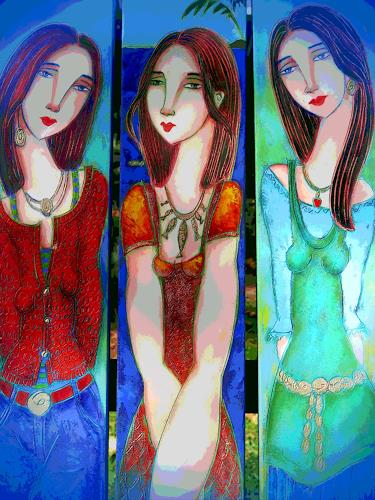 Arie Wubben, Three Mexican Sisters, Menschen: Gruppe, Gefühle: Freude, New Image Painting