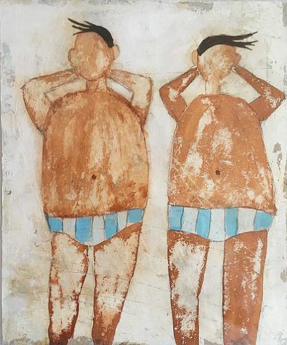 nanne hagendorff, Dicke Jungs haben keine Angst vor Sonnenbrand, Menschen, Abstrakte Kunst, Expressionismus