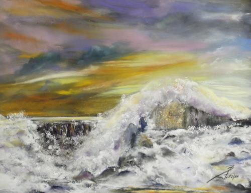 Beate Fritz, Vor dem Sturm, Landschaft: See/Meer, Bewegung, Expressionismus