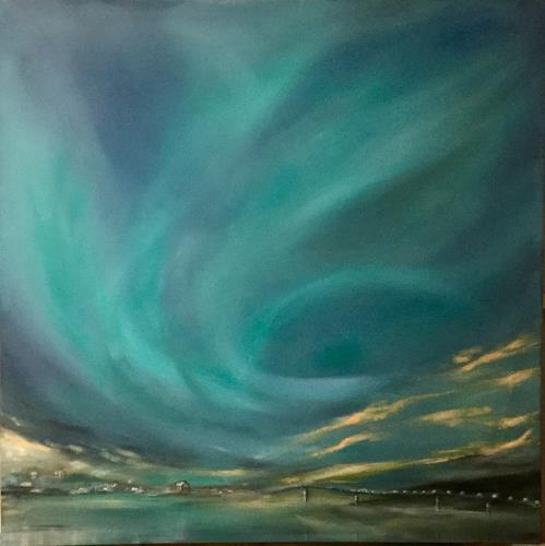 Beate Fritz, Nordlicht, Landschaft: See/Meer, Natur: Diverse, Gegenwartskunst, Expressionismus