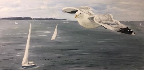 Beate Fritz, Anflug auf Kiel, Natur: Wasser, Landschaft: See/Meer, Gegenwartskunst