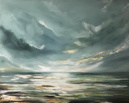 Beate Fritz, Endlose Weite, Landschaft: See/Meer, Natur: Wasser, Gegenwartskunst, Expressionismus