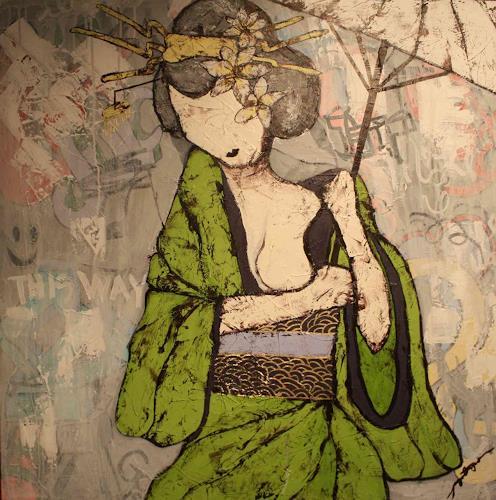 Pamela Gotangco, Waiting 1, Menschen: Frau, Gegenwartskunst, Expressionismus
