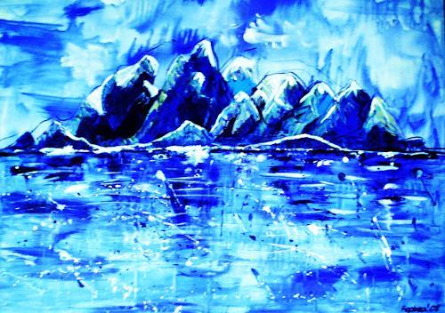 agabea, Im kalten Blau, Landschaft: Winter, Natur: Wasser, Abstrakte Kunst