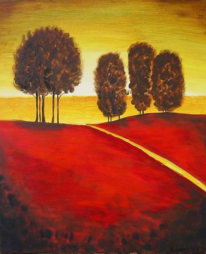agabea, Landschaft nach Gregory Willams, Landschaft: Hügel, Natur: Wald, Art Déco, Expressionismus