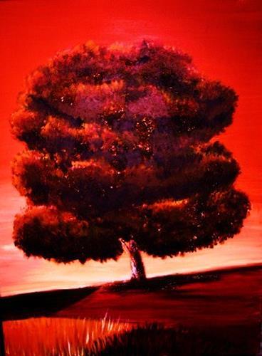 agabea, Baum nach Mauro Cellini, Pflanzen: Bäume, Landschaft: Herbst, Land-Art, Abstrakter Expressionismus