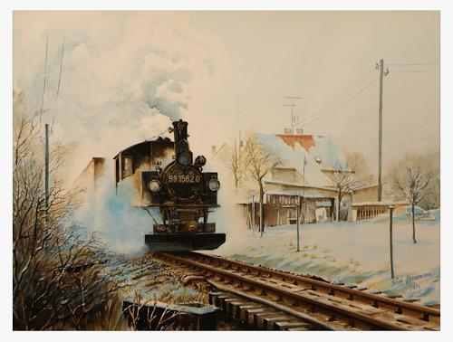 Bernd Kauschmann, Döllnitzbahn im Winter, Verkehr: Bahn, Technik, Realismus, Expressionismus
