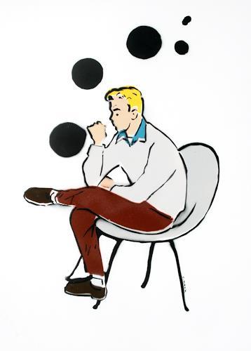 c.mank, Schwarze Sphären #4, Menschen: Mann, Pop-Art, Abstrakter Expressionismus