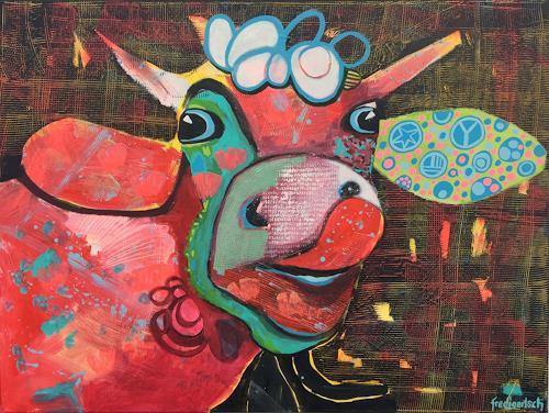 Fredi Gertsch, Lolita von der Weide, Tiere: Land, Gefühle: Freude, Pop-Art, Abstrakter Expressionismus