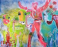 Fredi-Gertsch-Tiere-Land-Menschen-Mann-Moderne-Pop-Art