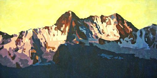 Vera Käufeler, Abendlicht, Landschaft: Berge
