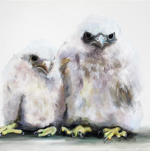 Vera Käufeler, Little Falkenauge, Tiere: Luft, Fotorealismus, Abstrakter Expressionismus