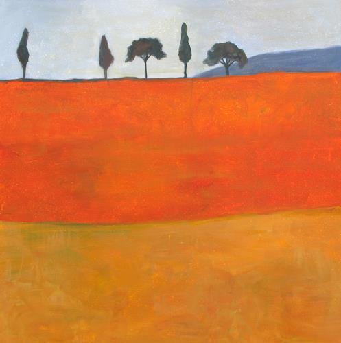 Vera Käufeler, Paesaggio toscano, Landschaft: Sommer, Konkrete Kunst, Expressionismus
