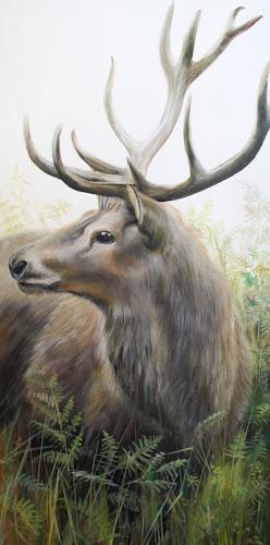 Vera Käufeler, Rothirsch, Tiere: Land, Natur, Abstrakte Kunst