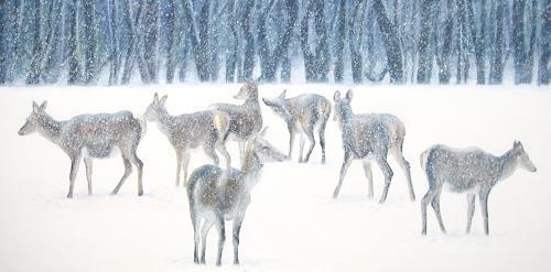 Vera Käufeler, Schneegestöber, Tiere: Land, Landschaft: Winter, Abstrakte Kunst